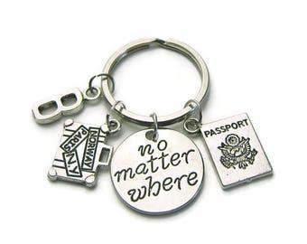 Passport, Suitcase And No Matter Where Keychain, Travel Keychain, Traveler Keychain, Passport Suitcase Keychain,No MatterWhere,Personalized