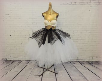 Black & white tea length tutu goth wedding adult womens tutu Halloween black tulle skirt special occasion sewn tutu tutuhot tutu hot