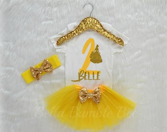 Baby Girl Second Birthday Bodysuit, Disney Beauty and the beast Inspired Theme, Two Yellow Glitter, Gold Headband Tutu outfit gold bow 337