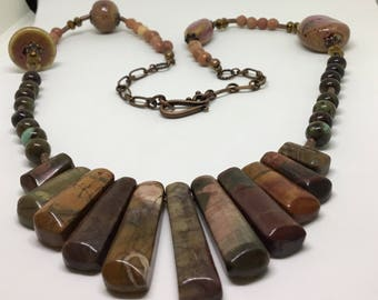 Copper Porcelain , Crystal and Precious stone Single strand Necklace.