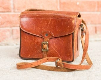 Vintage Small Leather Camera Bag by Perrin