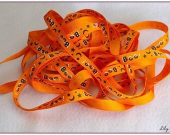 1 meter of Ribbon orange Boo ghost halloween 10mm