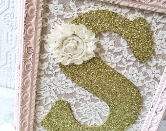 Girl Nursery Letters Pink Frame Letters Pink and Gold Nursery Decor Custom Wall Letters Framed Letters Shabby Chic Nursery Wall Art