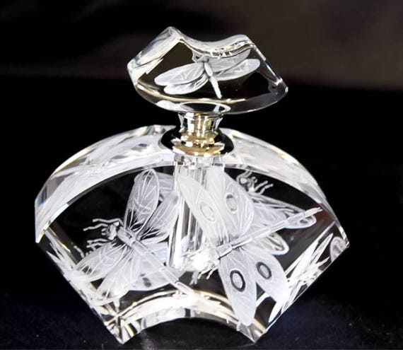 Hand Engraved Perfume Bottle Dragonflies, Oleg Cassini Crystal, Perfume Bottle, vanity Tray, Crystal etch, Home Decor, Engraved Glass
