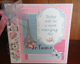 Je T'aime (I Love You) Chipboard Book - Completed Scrapbook Album