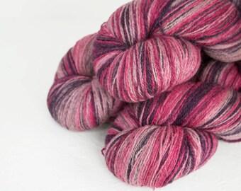 Gradient Aade Long artistic wool, Yarn for knitting, crochet.  gradient yarn - pink purple