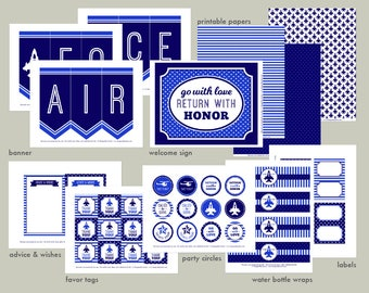 Air Force Farewell Party Printable Set: Military Party Kit Download - Blue Going Away Good-bye Airman Banner, Decorations, Cupcake Toppers