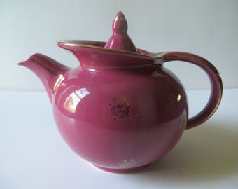 Hall Windshield Teapot 6 cup Mauve with Gold Trim