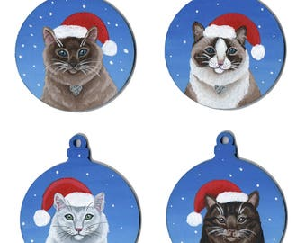 Cat Christmas Baubles - Painted in Acrylics on Wood, Pet Cats, Snow Themed, Santa Hats, Birman, Ragdoll, White and Tabby Decorations