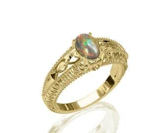 8x6mm Solitaire Australian Black Opal Corona Ring in 14K or 18K Gold SKU: R2307