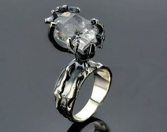 Herkimer Diamond Ring, Conflict Free Rustic Jewelry Ring, Oxidize Sterling Silver Ring, Solitaire Raw Gemstone Ring SKU: R2477