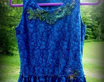 Lace Top, Upcycled,  Sexy,  Romantic, Summer, Beach, Blue, Embellishments