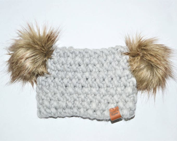 Light Grey Koala Headband | Knitted Baby Headband | Red Baby Headband | Bordeaux Double Pom Pom Headband