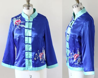 1990s blue satin embroidered top // 1990s short kimono // vintage satin top