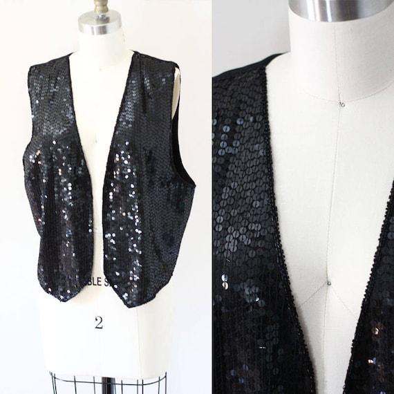 1980s black sequin vest // vintage sequin vest  // vintage vest