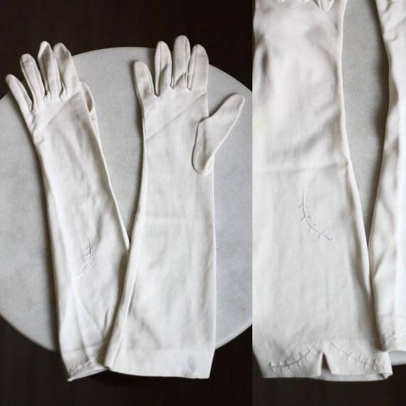 1950s white opera gloves // cocktail gloves // vintage gloves
