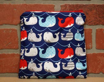 One Sandwich Bag, Reusable Lunch Bags, Waste-Free Lunch, Machine Washable, Whales, Sandwich Sacks, item #SS76