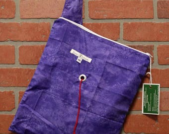 Medium Knitting Bag, Crochet, Knit, Yarn, Wool, Purple, Yarn Storage, Yarn Bag with Hole, Grommet, Handle, MYB11