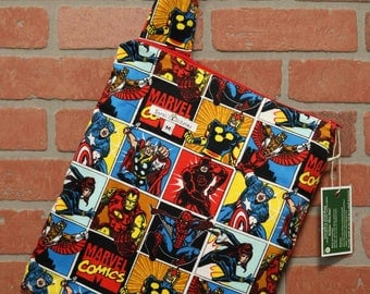 Cloth Diaper Wetbag, Comics, Wolverine, flannel, Pail Liner, Diaper Bag, Day Care Size, Holds 5 Diapers, Size Medium with Handle item #M68