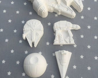 set de 4 objets de decoration star wars en plâtre