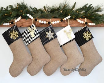 Burlap Christmas Stockings - Black and Off White Stockings, Personalized Christmas Stockings, Set of 5 Stockings, Farmhouse Stockings