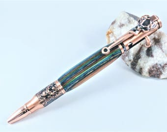 Hunter Bolt Action Pen, Copper with Dymond wood