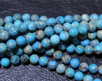 a strand of beads Aqua Terra Jasper round 8mm/6mm blue turquoise
