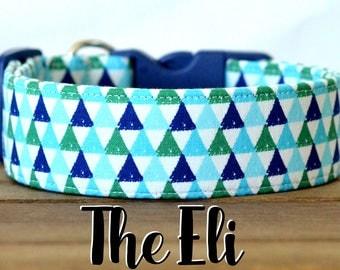 "Navy, Green, & Turquoise Unisex Geometric Dog Collar ""The Eli"""