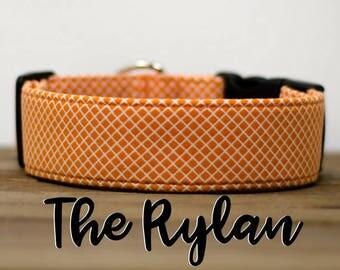 "Modern Orange Geometric Crosshatch Dog Collar ""The Rylan"""