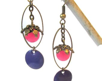 Pink gemstone, purple enamel, brass earrings
