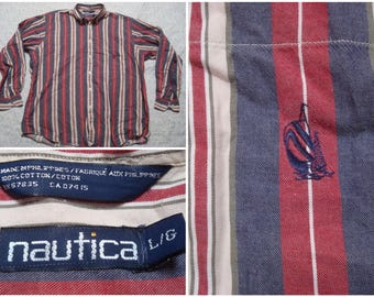 Vintage Retro Men's 90's Nautica Shirt Blue Red White Stripes Embroidered Logo Buttondown Collar Buttonup Long Sleeve Shirt Large