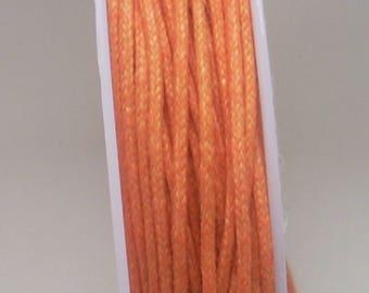 1 meter waxed cotton cord orange 0.5 mm
