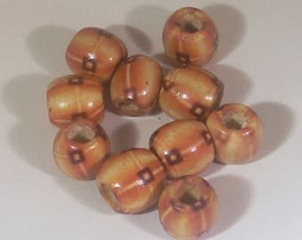 10 brown barrel clear 12mm wooden beads