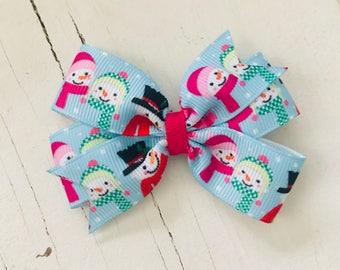 "3"" Snowman Pinwheel Bow"