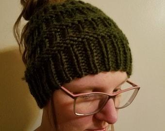 Messy bun beanie / knit hat / winter hat