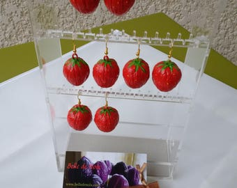 """Strawberries"" painted natural coconut earrings"