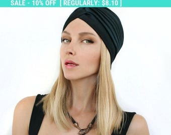 Women  Black Turban Hat