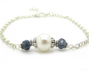 Navy Bridesmaid Jewellery, Ivory and Navy Wedding Sets, Dark Blue Bridesmaid Bracelet, Simple Bridal Sets, Bridesmaid Gifts, Ivory Pearls