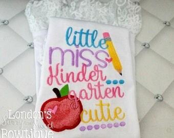 Little Miss Kindergarten ~6th Grade  T-shirts/ Back to School Shirts/ Embroidered T-shirt/ Toddler T-shirt