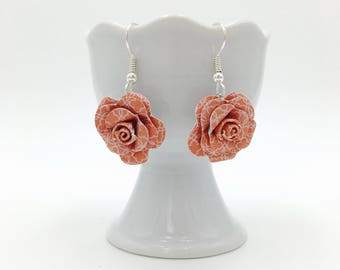 Coral Geometric Paper Rose Dangle Earrings