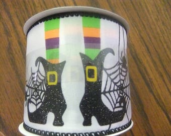 HALLOWEEN RIBBON - Witches Boots and Cobwebs - Two and one half inches by 12 feet - 2 Spools