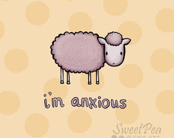 Anxious Sheep Print - Polka Dot Illustration (funny adorable animal graphic design)