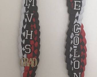 Personalized Twisted Double Braided Ribbon Lei (Open)