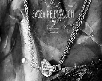 SageAine: Herkimer Diamond Double Strand Sterling Silver Necklace, Reiki Charged, Crystal Healing, Crown Chakra, April Birthstone
