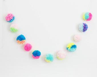 Pink, Blue, + Yellow Pom Pom Garland