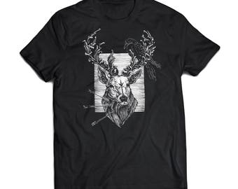 Algiz Rune Deer Tee with Filigree Antlers and Raven