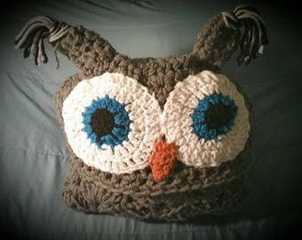 Handmade Hooded Owl Blanket, Warm, Cozy, Comfy, Gifts for Owl Lovers, V Day Gifts, Gifts for Teens, Valentine's Day Gift, Crocheted Blanket