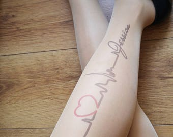 Heartbeat Name Tights, Custom Name Tights , Personalized Print, Printed Tights, Tattoo tights