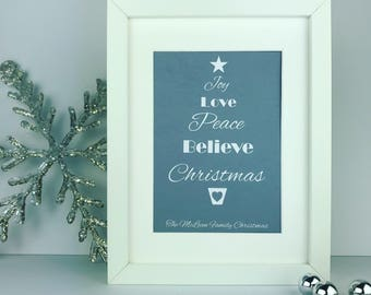 Joy Love Peace Believe Christmas tree | framed print | personalised gift