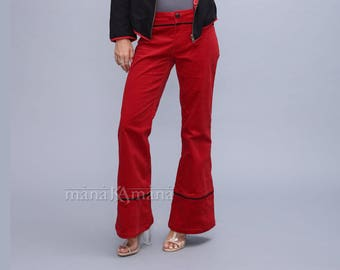 Bell bottoms women pants - Red  Velvet wide legs pants